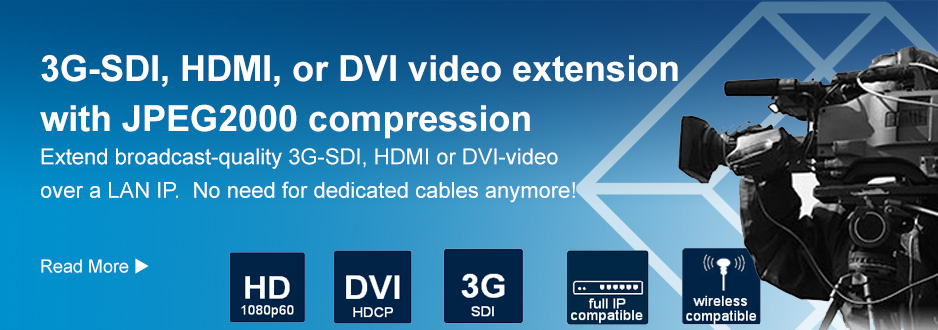 3G-SDI, HDMI or DVI video extension with JPEG2000 compression