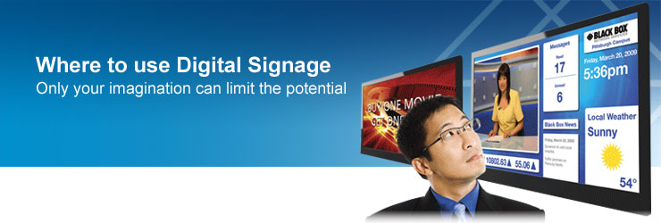 Digital signage where header